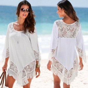 Женское платье, короткое, цвет белый, гипюровое, с бахрамой
