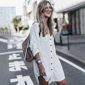 Платье-рубашка, белая