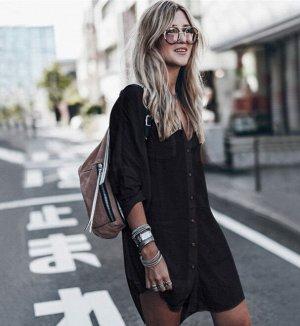 Платье-рубашка, черная