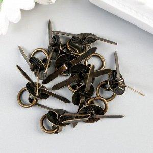"""Ручка для шкатулки металл """"Молоточек"""" бронза набор 10 шт С183 1,2х1,2 см"""