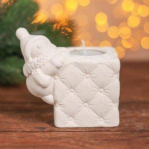 Набор для творчества свеча под раскраску «Весёлый снеговик» краски 6 шт. по 3 мл, кисть