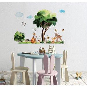 Наклейка виниловая «Лесные животные». интерьерная. 50 х 70 см