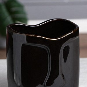 """Ваза настольная """"Лицо"""". глянец. чёрная. 19 см. 1 сорт. керамика"""