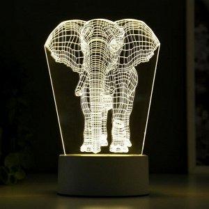 "Светильник ""Слон"" LED белый от сети 9.5х12.5х19см"