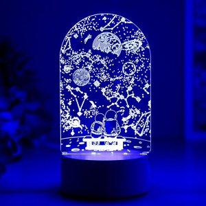 "Светильник ""Пара в космосе"" LED RGB от сети 9.5х10х19 см"