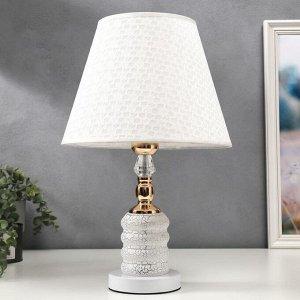 Лампа настольная 16138/1 E27 40Вт+LED подсветка бело-золотой 28х28х45 см