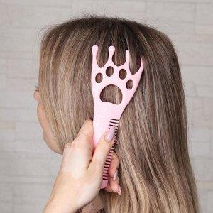 Массажёр-чесалка «Лапка», с расчёской, 4 магнита, цвет розовый