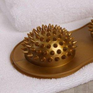 Массажёр для ног, 2 шара с шипами, цвет МИКС