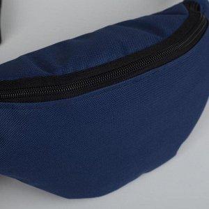 Сумка поясная, отдел на молнии, регулируемый ремень, цвет синий