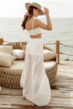 Многоярусная белая юбка-макси