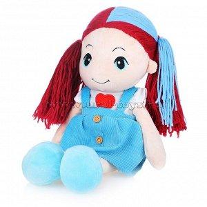 Кукла Стильняшка с голубой прядью в сарафане с сердцем, 40 см