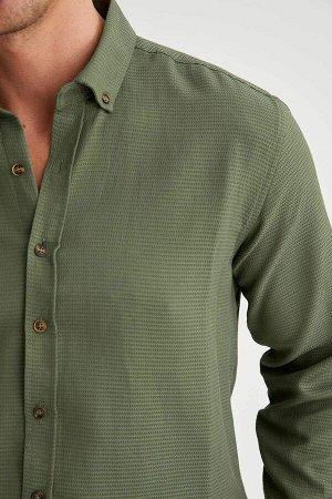 рубашка Размеры модели: рост: 1,89 грудь: 100 талия: 81 бедра: 97 Надет размер: L  Хлопок 55%, Полиэстер 45%