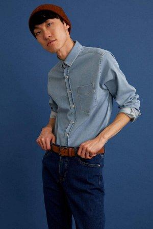 рубашка Размеры модели: рост: 1,88 грудь: 89 талия: 74 Надет размер: M  Хлопок 63%,Elastan 4%, Полиэстер 33%