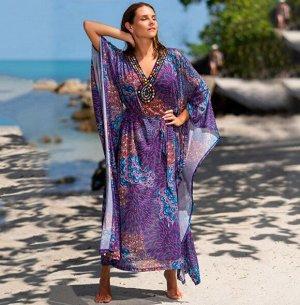 Женское пляжное платье, принт павлин