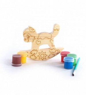 """Набор под роспись """"Котенок-качалка"""" с контуром арт.7960 с красками и кисточкой в пакете"""