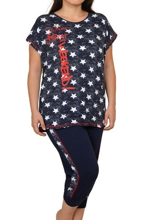 Пижамы для женщин большой размер С бриджами/с футболкой) 26009