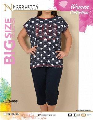 Пижамы для женщин большой размер ( с бриджами/с футболкой) 26008