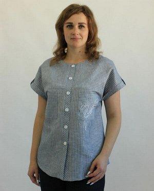 Блуза Лен 100% Серо-голубой в тонкую белую полоску