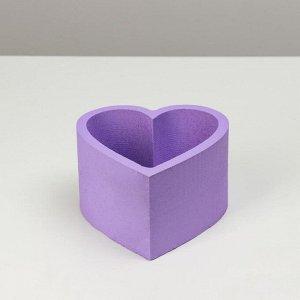 """Пенобокс 16?16?10 см кашпо для цветов и подарков """"Сердце"""", лавандовый"""