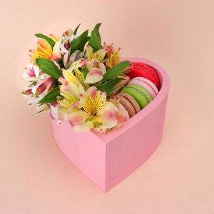 """Пенобокс 16?16?10 см кашпо для цветов и подарков """"Сердце"""", розовый"""