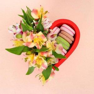 """Пенобокс 16?16?10 см кашпо для цветов и подарков """"Сердце"""", красный"""