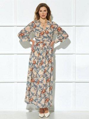 Платье Описание модели Платье (длина по спинке с учетом пояса до талии – 45см, длина до низа – 102 см, цвет: мультиколор) -платье с притачным поясом, по поясу мягкие складки, с застёжкой на потайную т