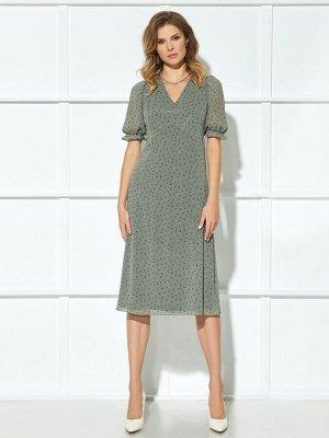 Платье Описание модели Платье (длина по спинке до подреза – 36,5см, длина от подреза до низа – 77см, длина рукава – 36,5 см, цвет: полынь) -платье отрезное выше линии талии, с застёжкой на потайную те