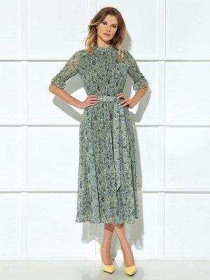 Платье Описание модели Платье (длина по спинке до талии– 42,5 см, длина до низа – 89 см, длина рукава – 33 см, цвет: мультиколор) -платье отрезное по линии талии на резинке, с центральной застёжкой на