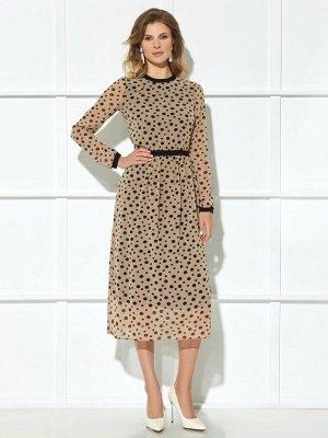 Платье Описание модели Платье (длина по спинке до талии с учетом пояса – 42,5 см, длина от талии до низа юбки – 80,5 см, длина рукава - 63 см, цвет: песочный) -отрезное по линии талии, с притачным поя