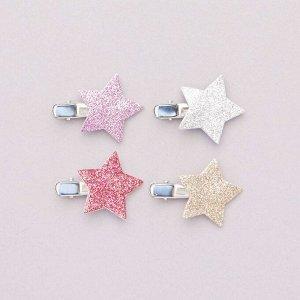 Комплект блестящих заколок со звездой на конце - фиолетовый