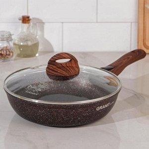 Сковорода Granit ultra red, d=24 см, со съемной ручкой, стеклянной крышкой