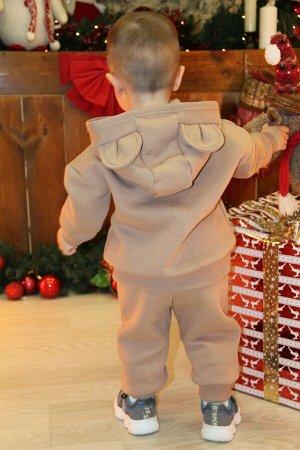 Костюм Цвет: кофе; Состав: 80%хлопок, 20%п/э; Материал: футер трехнитка с начесом Отличный и удобный костюм из 3-х нитки для самых маленьких. Ушки на капюшоне толстовки умиляют и влюбляют в себя. Брюк