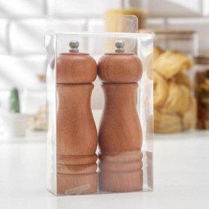 Набор для специй «Дует», 16,5 см, 2 мельницы: для соли и перца, акация