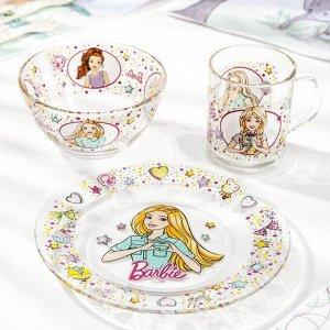 Набор посуды детский Priority «Барби», 3 предмета