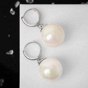 """Серьги с жемчугом """"Классика"""" полукруг, цвет белый в серебре"""
