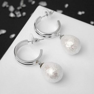 """Серьги с жемчугом """"Хлопок"""" нежность, цвет белый в серебре"""