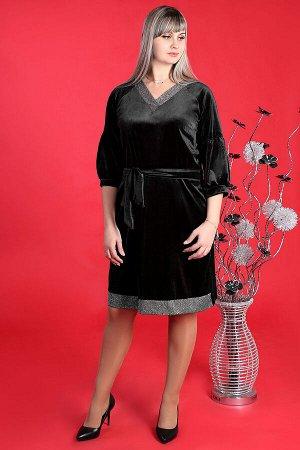 Черный Примечание: замеры длин соответствуют размеру 50. Длина платья: 100 см. Длина рукава: 41 см. Подкладка: нет. Застежка: нет. Карманы: нет. Декор: нет. Состав: полиэстер 60%, вискоза 35%, лайкра