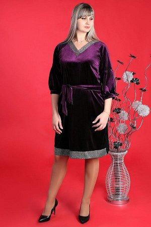 Фиолетовый Примечание: замеры длин соответствуют размеру 50. Длина платья: 100 см. Длина рукава: 41 см. Подкладка: нет. Застежка: нет. Карманы: нет. Декор: нет. Состав: полиэстер 60%, вискоза 35%, лай