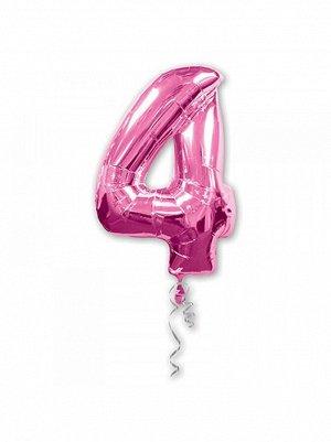 """Фольга шар Цифра 4 Pink 34""""/86 см США Anagram"""