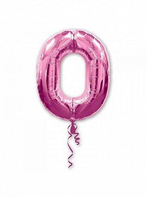 """Фольга шар Цифра 0 Pink 34""""/86 см США Anagram"""