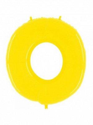 "Фольга шар Цифра 0 40""/100 см Яркий желтый GRABO Италия"