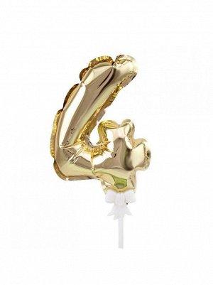 Фольга шар Цифра 4 Золото К7 трубочка+держатель Китай