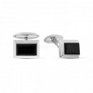 Запонки из серебра с чёрными фианитами родированные 141214р