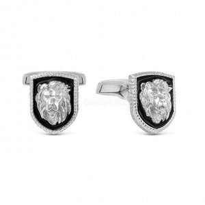 Запонки из серебра с эмалью родированные - Львы 140048р