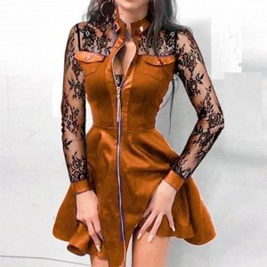 Платье Ткань трикотаж, рукава ткань гипюр