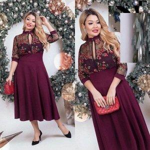 Платье Ткань барби с гипюр