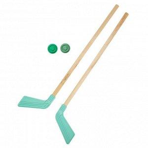 И8  Набор 2 Клюшки хоккейных и 2  шайбы ( дер,пл)  80 см в инд.упКХ-2-55 РОССИЯ