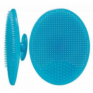 Щеточка для умывания силиконовая, цвет: голубой, 5см*6,5см