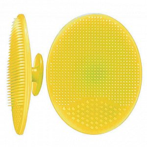 Щеточка для умывания силиконовая, цвет: желтый, 5см*6,5см