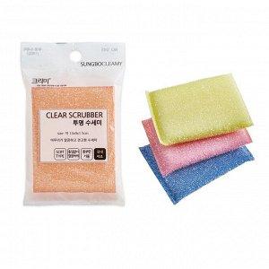 """Губка """"Clear Scrubber"""" для мытья посуды и кухонных поверхностей в полиэтиленовой ворсистой сетке (средней жесткости) (13 х 9 х 1.5 см) х 1 шт / 400"""